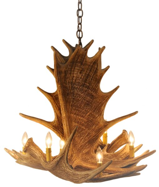 Jeremiah 6 - Light Unique / Statement Classic / Traditional Chandelier with Antler Accents by Millwood Pines Millwood Pines