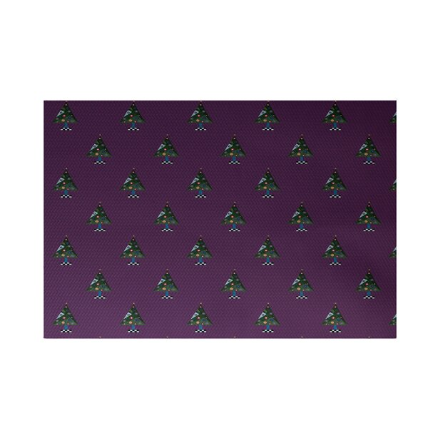 Crazy Christmas Decorative Holiday Print Purple Indoor/Outdoor Area Rug by The Holiday Aisle