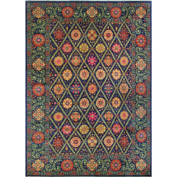 One-of-a-Kind Altom Fine Chobi Hand-Knotted Wool Blue/Green Area Rug by Isabelline