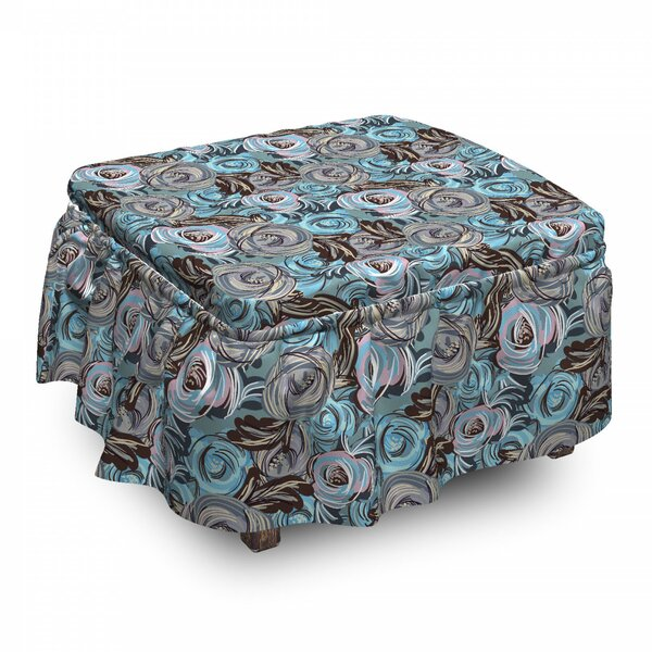 Botanical Roses Bouquet Ottoman Slipcover (Set Of 2) By East Urban Home