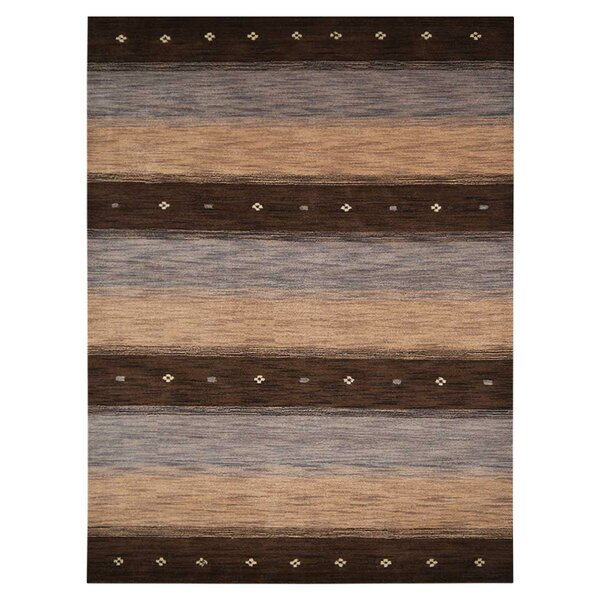 St Catherine Hand-Knotted Wool Brown/Beige Area Rug by Millwood Pines