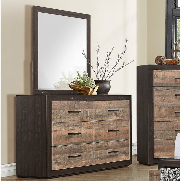 Slade 6 Drawer Double Dresser with Mirror by Union Rustic