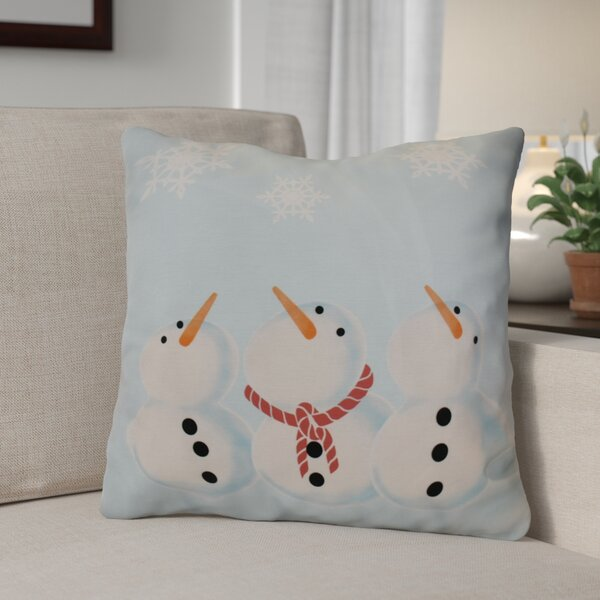 Decorative Snowmen Geometric Print Throw Pillow by The Holiday Aisle