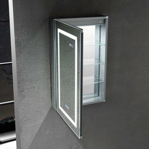 Arcovio Surface Mount Framed 2 Door Medicine Cabinet Adjustable Shelves and Lighting and Electrical Outlet
