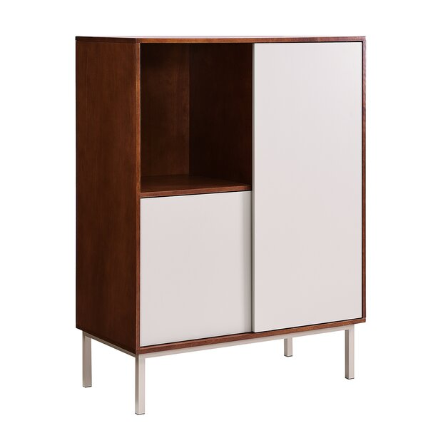 Elzy Two-Tone Sliding 1 Door Accent Cabinet by Wrought Studio Wrought Studio