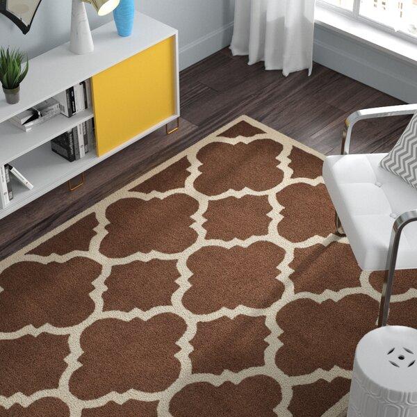 Charlenne Wool Dark Brown/Ivory Area Rug by Zipcode Design