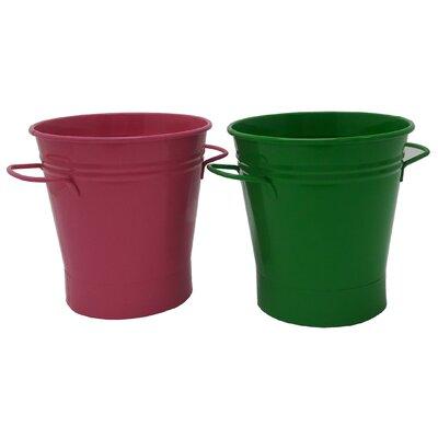Enameled French Pail Steel Bucket Winston Porter Color: HotPink-AppleGreen