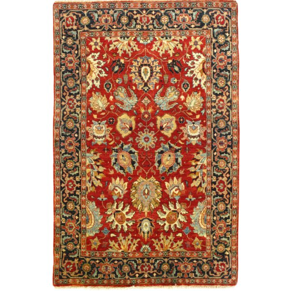 Indo Hand-Knotted Wool Red/Navy Area Rug by Pasargad NY