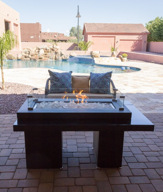 Two Tiered Steel Propane Fire Pit Table