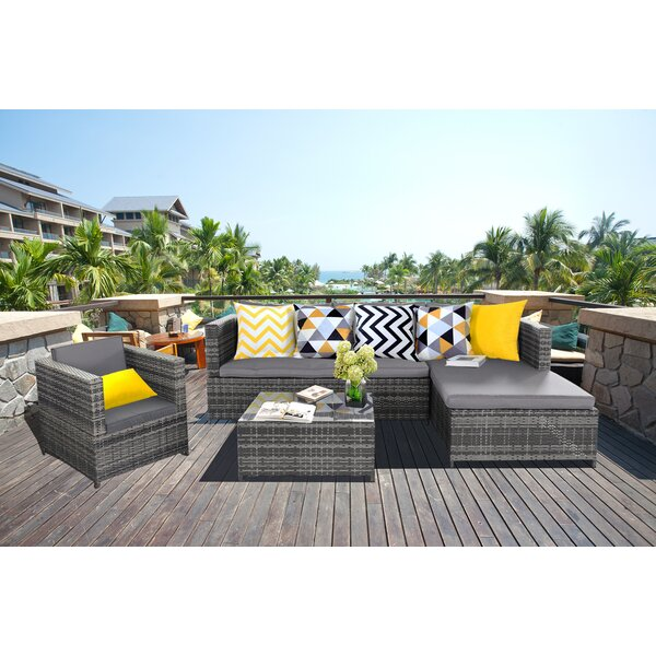 Marchetti Complete Pool Patio Garden 4 Piece Sectional Seating Group with Cushions by Wrought Studio