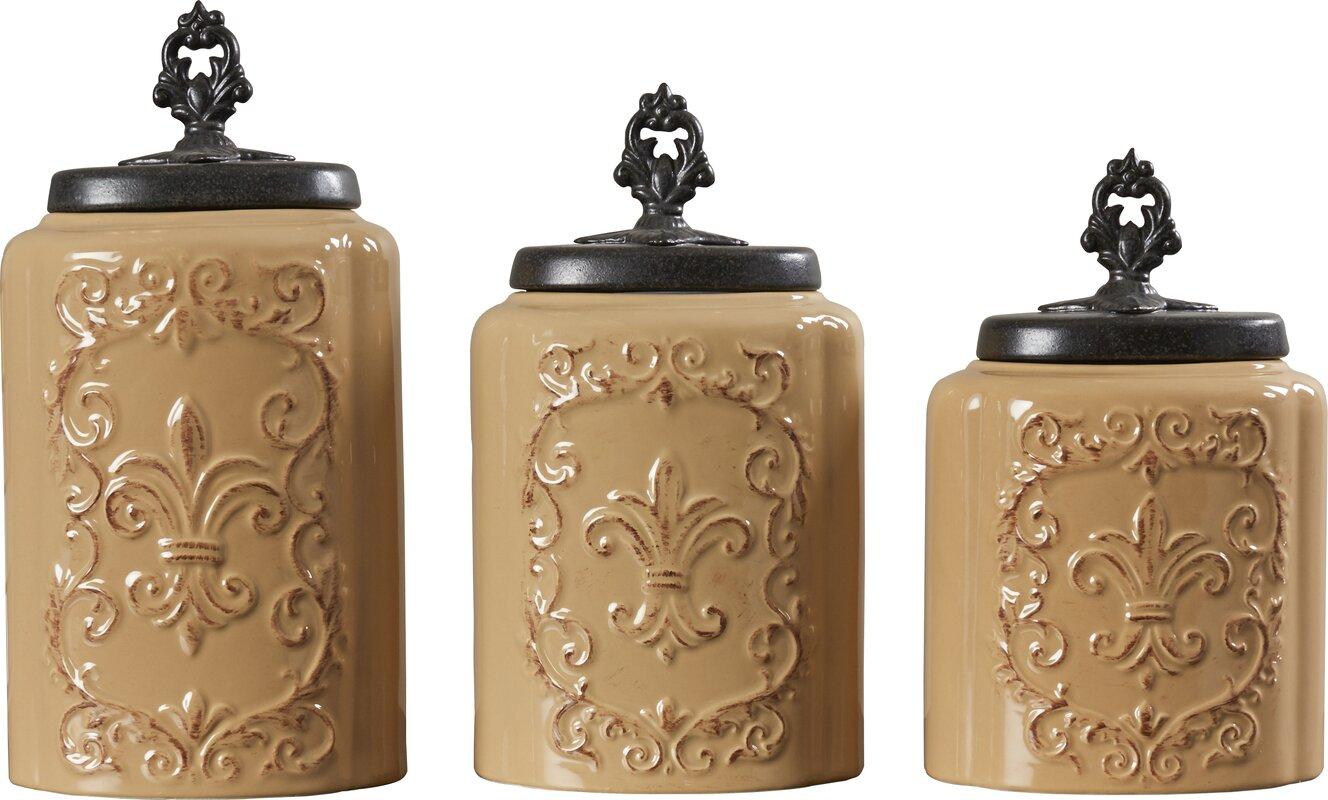 design guild 3 piece kitchen canister set reviews wayfair default name