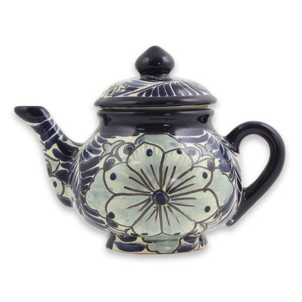 1.47 qt. Majolica Ceramic Teapot by Novica