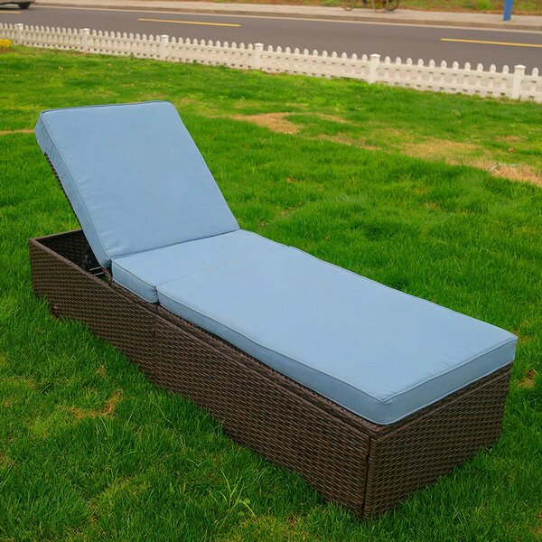 Patio Reclining Chaise Lounge with Cushion