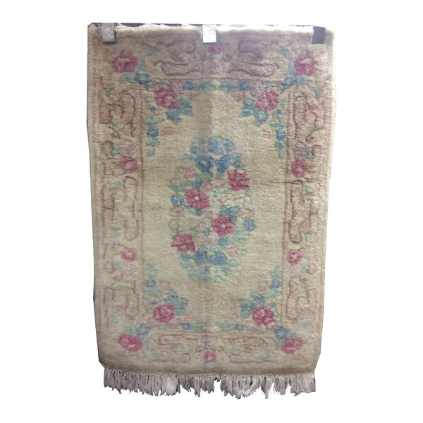 One-of-a-Kind Drumroan Hand-Knotted Wool Beige/Rose Area Rug by Canora Grey