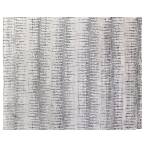 Hand-Knotted Silk Gray Area Rug by Exquisite Rugs