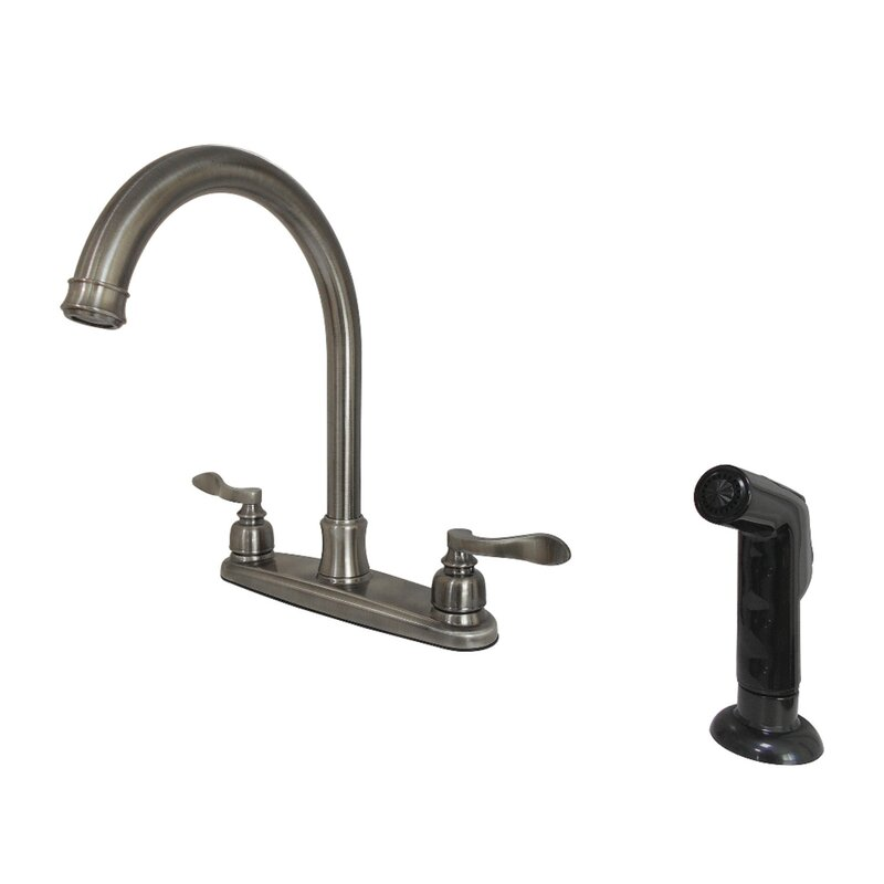 Kingston Brass French Gooseneck Double Handle Kitchen Faucet With