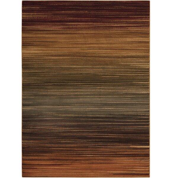 Margret Machine Woven Brown/Green/Burgundy Area Ru