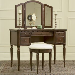 Warm Cherry Vanity Set with Mirror by Powell Furniture