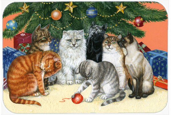 Cats under the Christmas Tree Kitchen/Bath Mat by East Urban Home