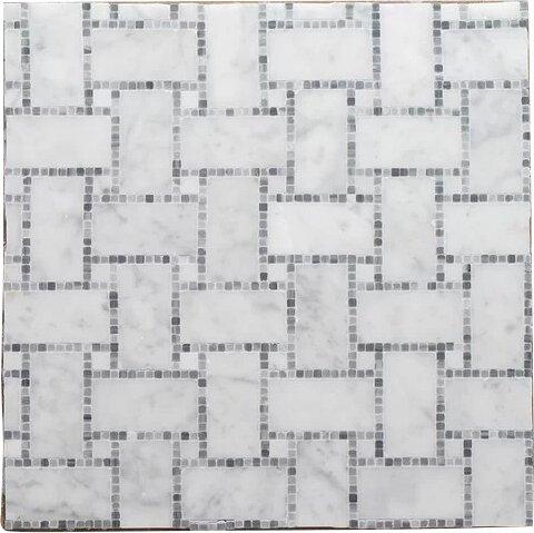 B.View Micro Mosaic Pure Carrara P Wall 12 x 12 Natural Stone Mosaic Tile in White by Seven Seas