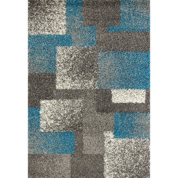 Railsback Contemporary Boxes Shag Gray Area Rug by Wrought Studio