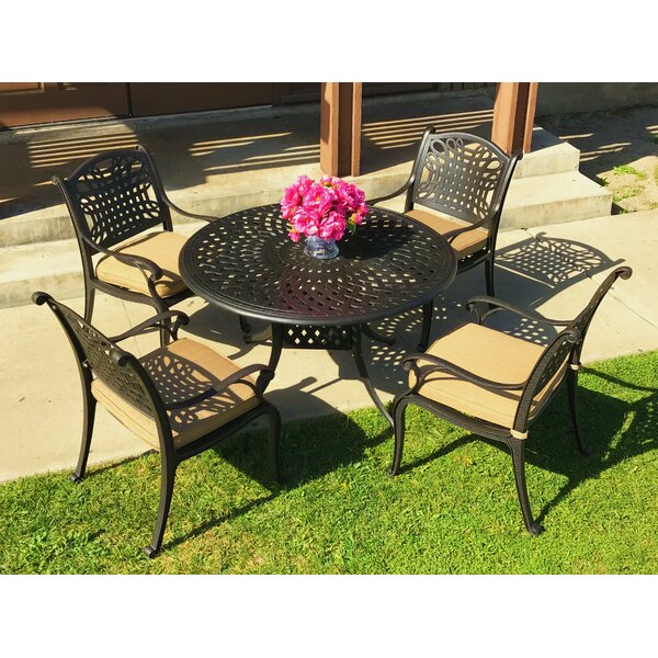 Campion 5 Piece Sunbrella Dining Set with Cushions by Fleur De Lis Living