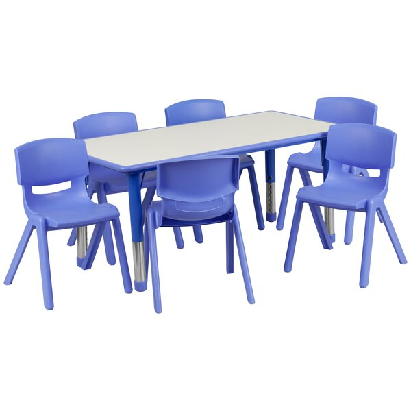 7 Piece Rectangular Activity Table & 10.5 Chair Set by Flash Furniture