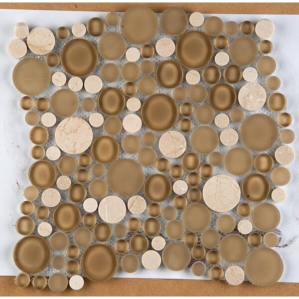 Lucente 12 x 12 Glass Stone Blend Circle Mosaic Tile in Murano by Emser Tile