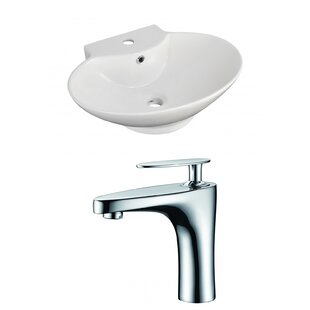 Reviews Ceramic 23 Wall-Mount Bathroom Sink with Faucet and Overflow By Royal Purple Bath Kitchen