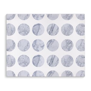 Fat Dot White Marble Graphic Art on Wrapped Canvas by KAVKA DESIGNS