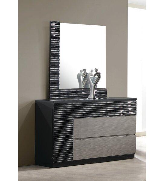 Kahlil 2 Drawer Dresser with Mirror by Orren Ellis