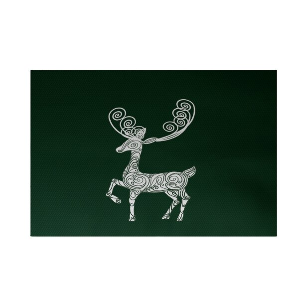 Deer Crossing Decorative Holiday Print Dark Green Indoor/Outdoor Area Rug by The Holiday Aisle