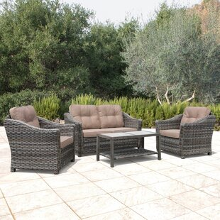 April 4 Piece Rattan Sectional Set with Cushions
