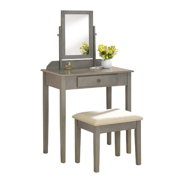 Solid Wood Vanity Set with Stool and Mirror by American Furniture Classics American Furniture Classics