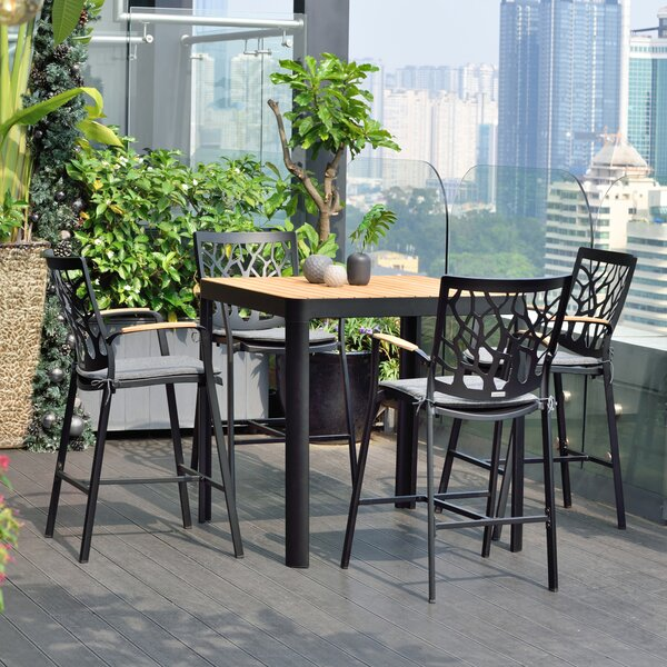 Portals Outdoor Patio 5 Piece Teak Bar Height Dining Set with Cushions by Armen Living