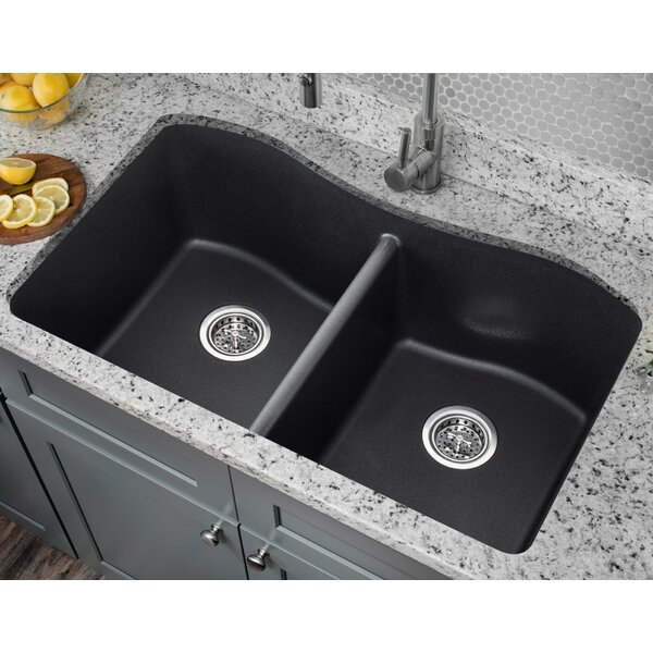 32.5 L x 20 W Quartz Double Bowl Kitchen Sink by Soleil