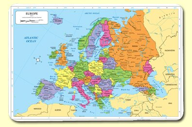 Europe Placemat (Set of 4) by Painless Learning Placemats