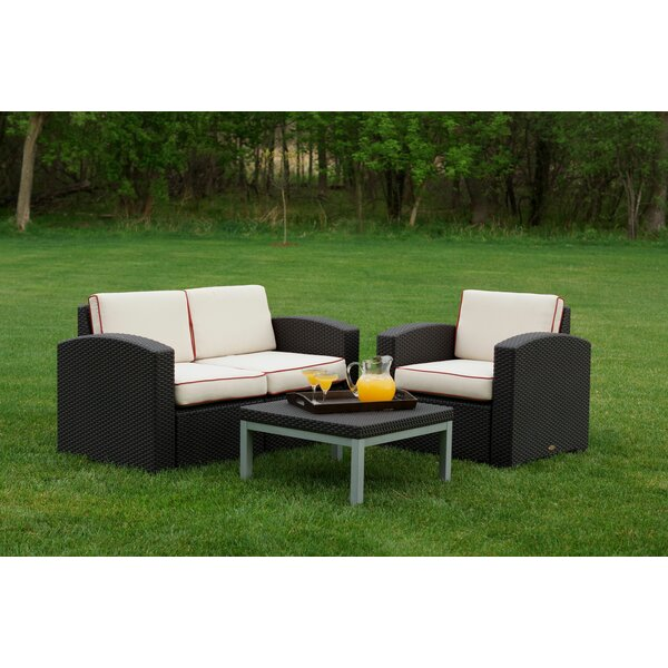 Loggins 3 Piece Sunbrella Sofa Seating Group with Cushions by Brayden Studio