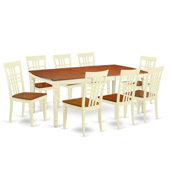 Parkhur 9 Piece Extendable Solid Wood Dining Set by August Grove