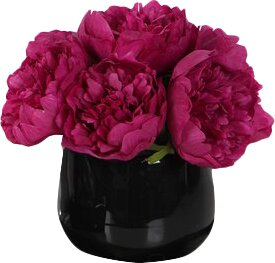 Peony Floral Arrangement in Vase by House of Hampton