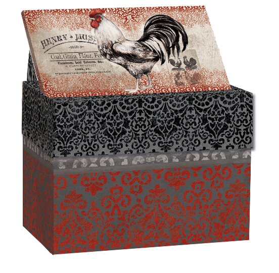 Cardinal Rooster Recipe Card Decorative Box by August Grove