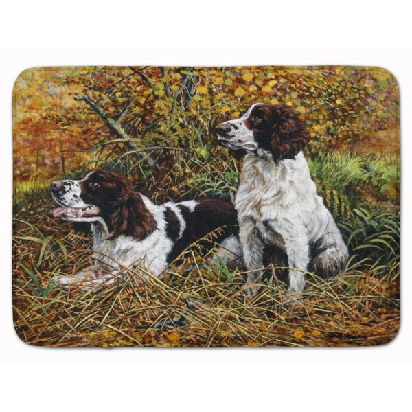 Two Springer Spaniels in the grasses Memory Foam Bath Rug by East Urban Home