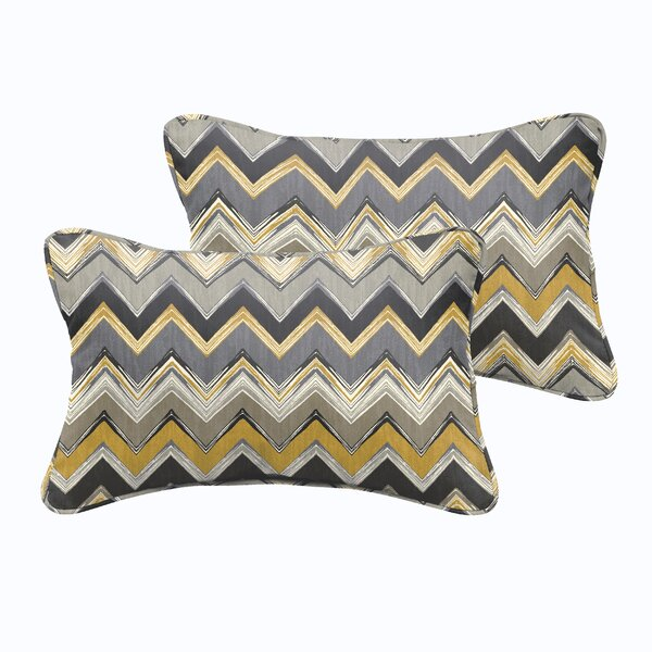Diaundra Chevron Outdoor Lumbar Pillow (Set of 2) by Red Barrel Studio