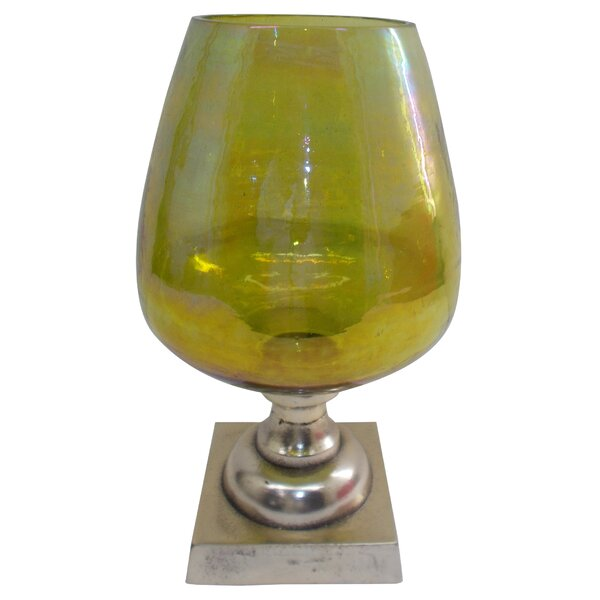 Glass Stemmed Glass/Metal Hurricane by Bloomsbury Market