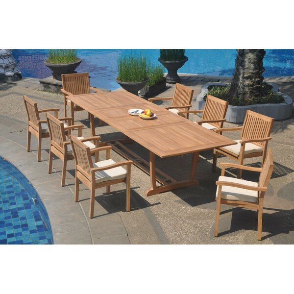 Tyshawn 9 Piece Teak Dining Set by Rosecliff Heights