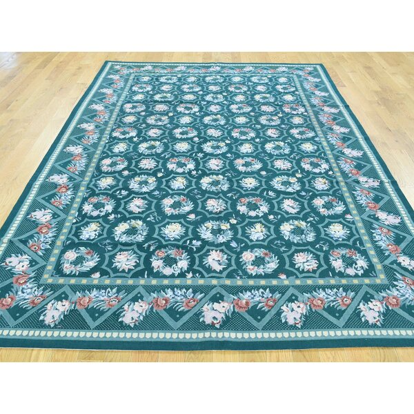 One-of-a-Kind Beckett Needlepoint Handwoven Green Wool Area Rug by Isabelline