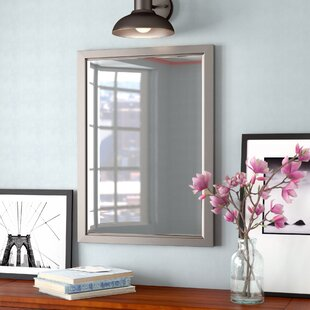 Three Posts Rectangle Brushed Nickel Mirror