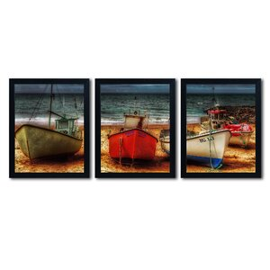 Resting Boats by Erik Brede 3 Piece Framed Photographic Print Set by Trademark Fine Art