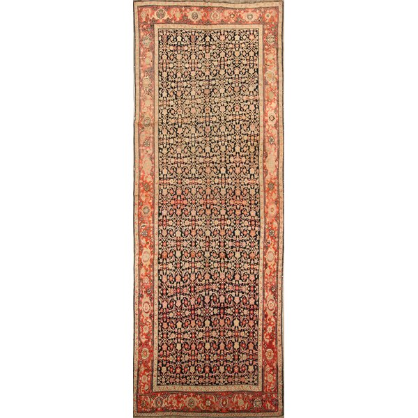 One-of-a-Kind Burlington Karabagh Caucasian Russian Oriental Hand-Knotted Wool Black Area Rug by Bloomsbury Market
