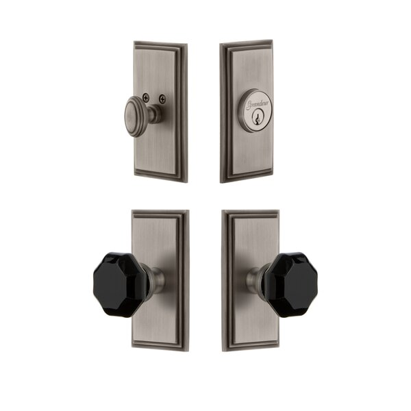 Carre Plate Single Cylinder Knob Combo Pack with Lyon Knob and matching Deadbolt by Grandeur